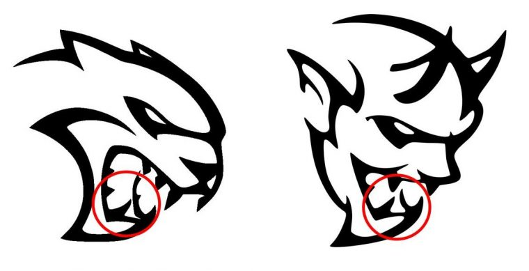 Dodge Hellcat Demon logo design similarities Mouths