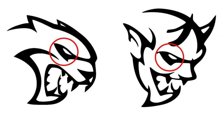 Dodge Hellcat Demon logo design similarities eyes
