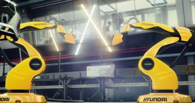 Hyundai i30 car commercial dueling factory robots in love lightsabers
