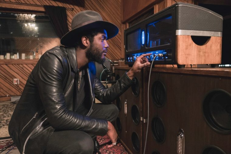 Gary Clark Jr with custom Lincoln Continental-inspired Revel amplifier