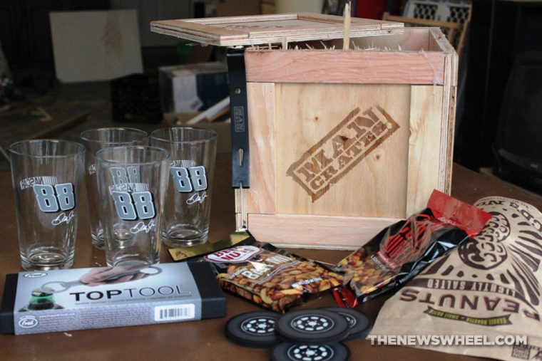 Man Crates NASCAR Barware Crate Review Unboxing contents Dale Earnhardt Jr table