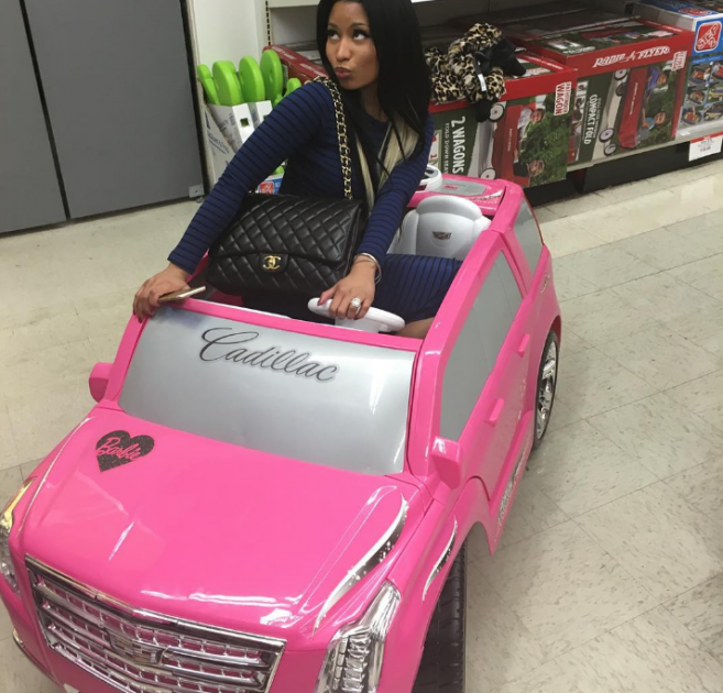 One of the craziest cars from Nicki Minaj's Instagram is this pink toy Cadillac Escalade
