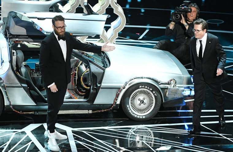 Seth Rogen Michael J. Fox DeLorean Oscars