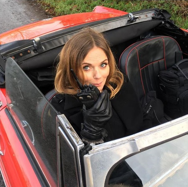 Geri Horner Filming in 1967 MGB Roadster