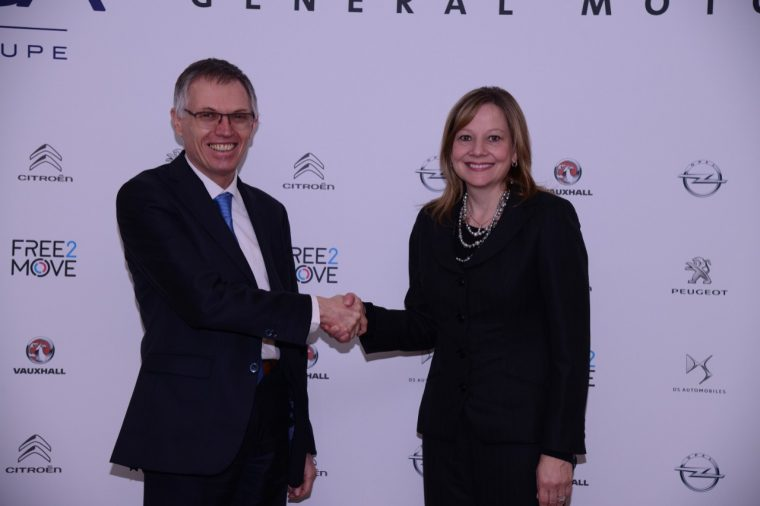 Carlos Tavares, chairman of the Managing Board of PSA, and Mary Barra, General Motors CEO