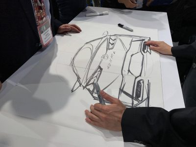 2018 Hyundai Sonata sedan car reveal at 2017 New York International Auto Show model redesign presentation sketch
