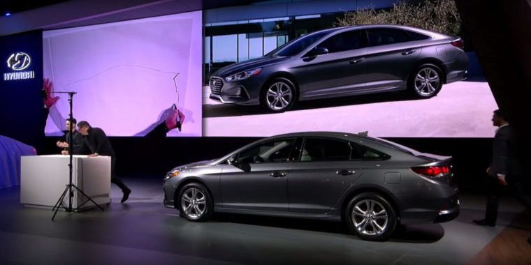 2018 Hyundai Sonata sedan car reveal at 2017 New York International Auto Show model redesign presentation stage