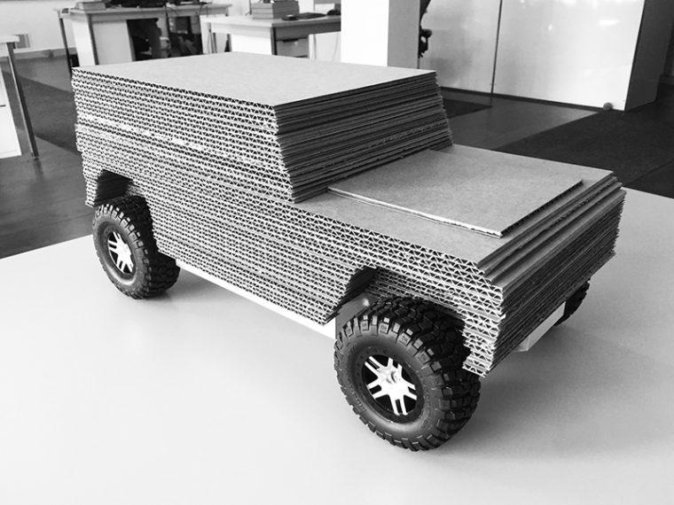 Cardboard Bollinger Truck model