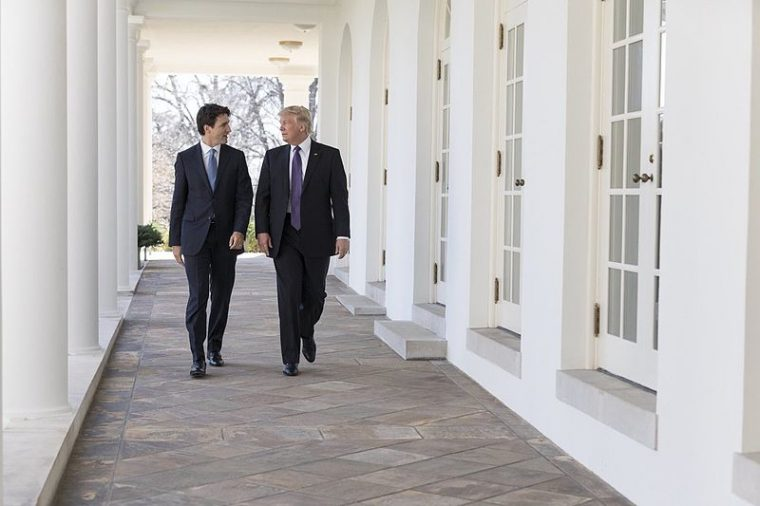 Justin Trudeau Walks with Donald Trump at the White House