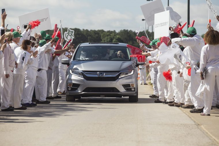 Associates at Honda Manufacturing of Alabama celebrate the start of production of the all-new 2018 Honda Odyssey.