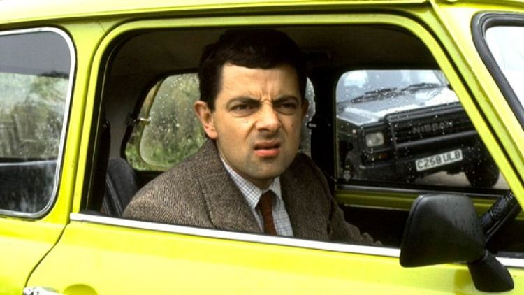 Mr Bean driving british car tv show funny terms tiny vehicle