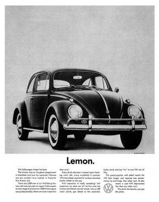 Volkswagen Lemon print advertisement history meaning