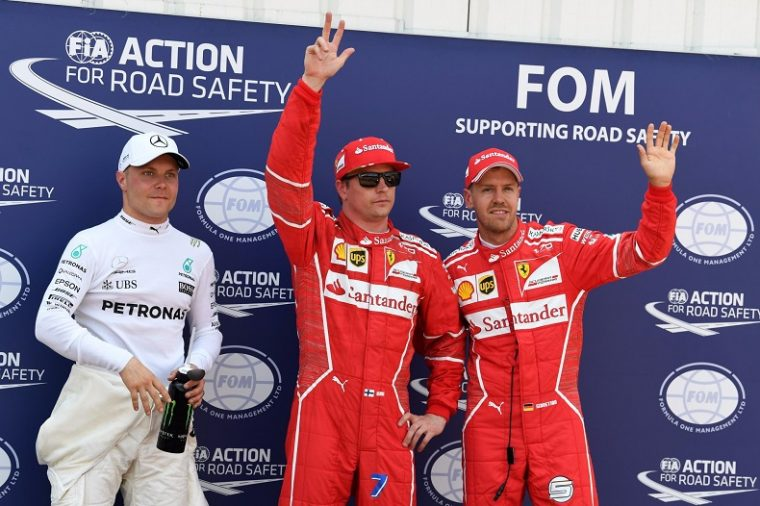 Bottas, Raikkonen, and Vettel