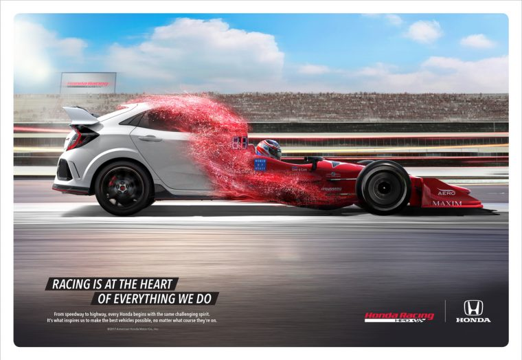 """Racing at Heart,"" a new brand campaign linking Honda's incredibly diverse, high-performance motorsports program to production vehicles including the new Civic Type R, arriving in dealerships late spring, makes its television debut today."