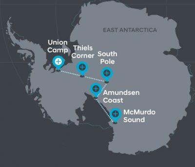 Hyundai Santa Fe Antarctica Patrick Bergel Shakleton journey route map