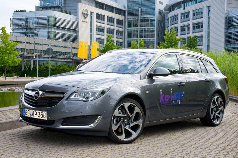 Opel Insignia test car in front of Opel headquarters in Rüsselsheim