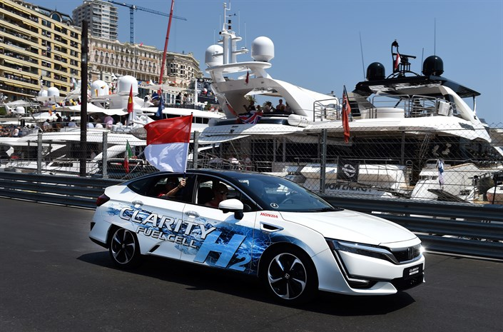 Prince Albert of Monaco drives the Honda Clarity Fuel Cell in lap of honour at Formula 1 Grand Prix de Monaco 2017
