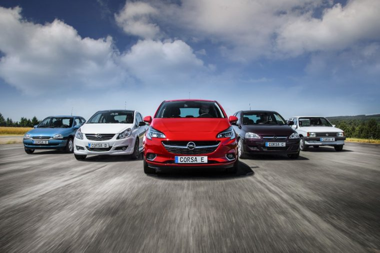 Five generations of Opel Corsa