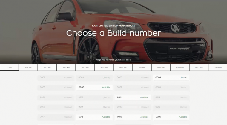 2017 Holden Commodore build number selection