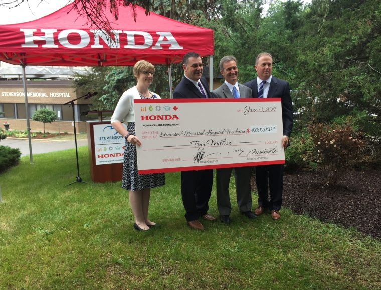Honda Canada Foundation donates money to the Stevenson Memorial Hospital Foundation