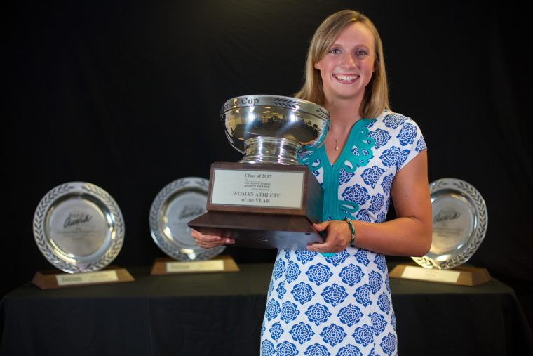 Freshman Olympian Katie Ledecky of the Stanford University Swimming & Diving team was named the Collegiate Woman Athlete of the Year and presented with the prestigious Honda Cup during the Collegiate Women Sports Awards (CWSA) show. As presenting sponsor, Honda has supported women's athletics programs for more than 30 years. (Photo credit: Andrew Villa)