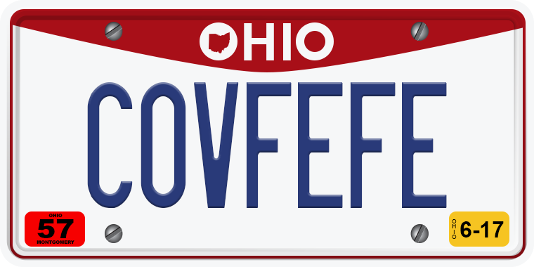 TNW Funny hilarious vanity license plate messages COVFEFE