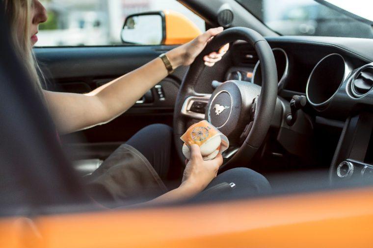Orange Fury Ice Cream Sandwich on a Mustang
