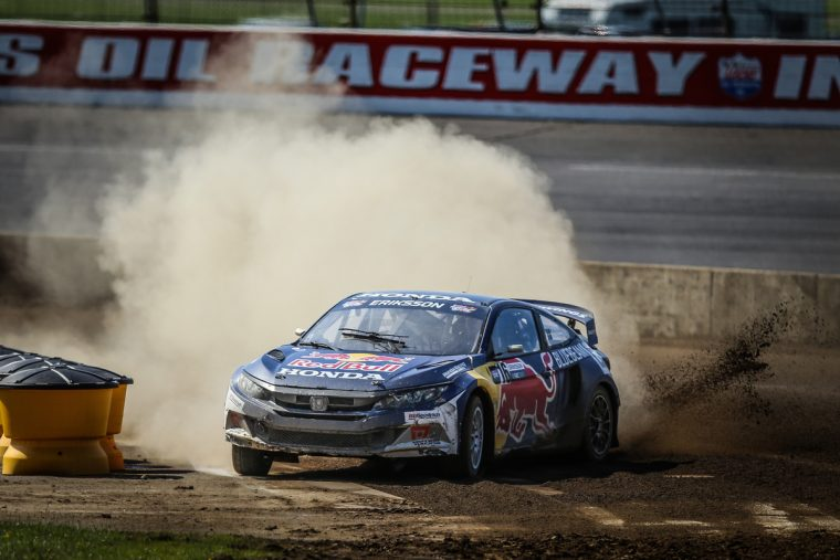 Oliver Eriksson navigates through the dirt at Lucas Oil Raceway.