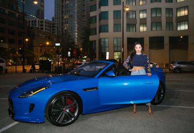 Demi Lovato with Jaguar F-TYPE