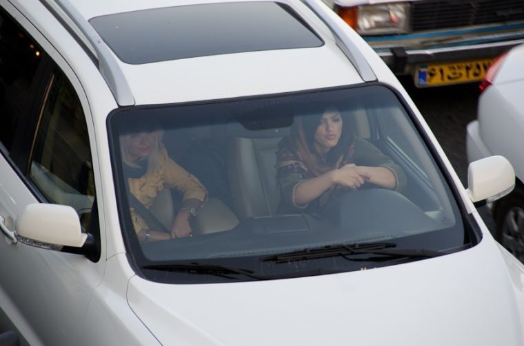 Women driving in Tehran, Iran