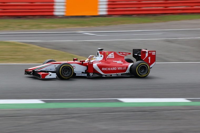 Charles Leclerc driving for the Prema Powerteam in Formula 2