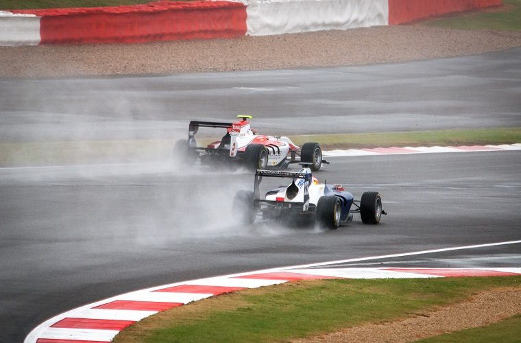 GP3 cars in the rain
