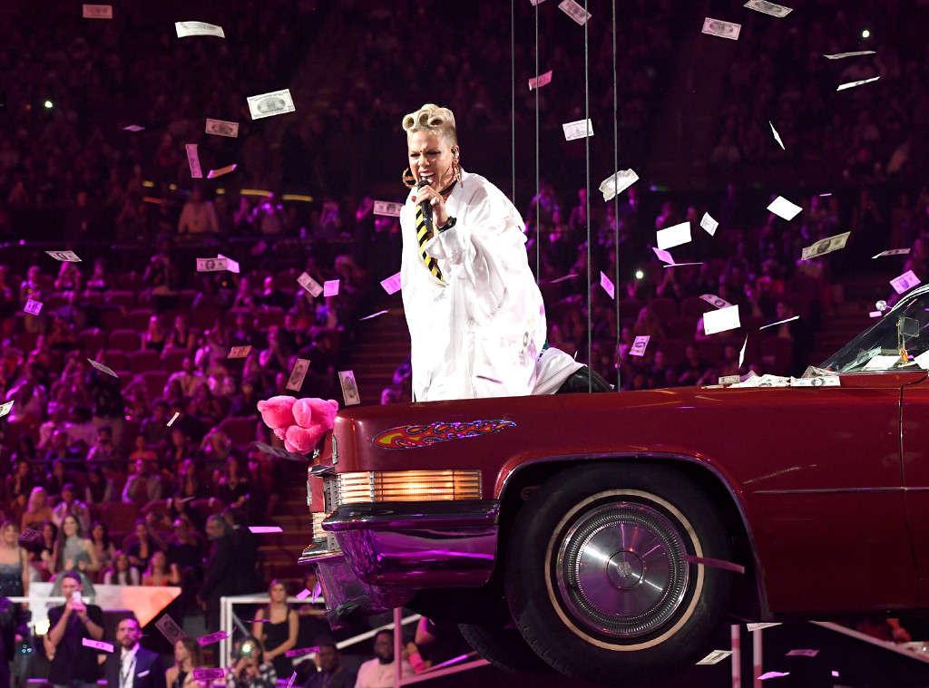 Pink Cruises at the VMAs atop a Pink Cadillac and Receives ...