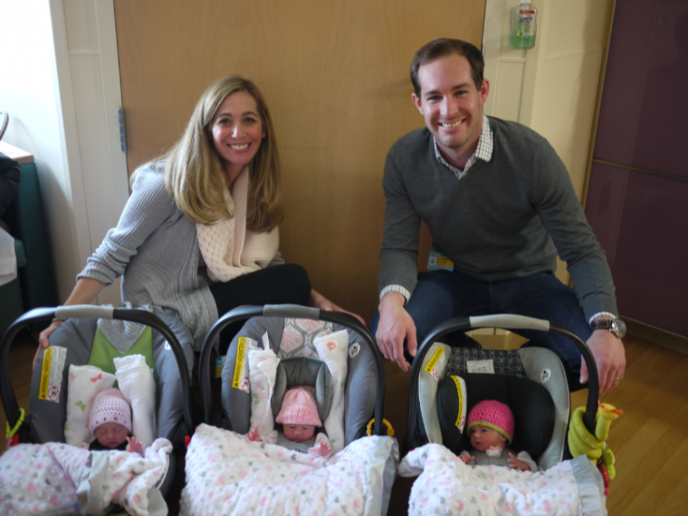 Ryan and Dana Niemiec with Triplets