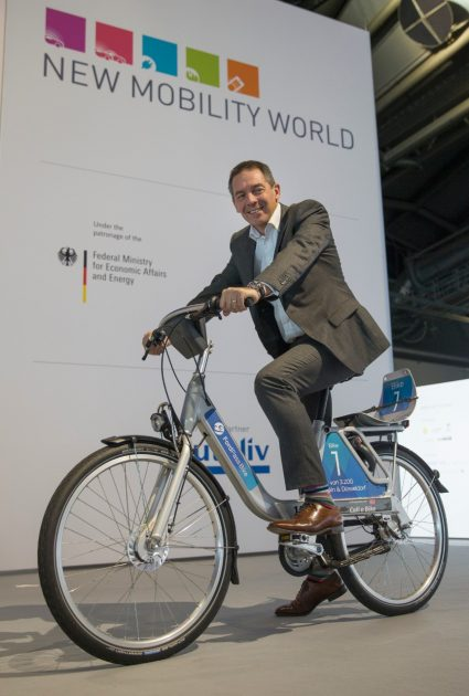 Steven Armstrong on a FordPass Bike at IAA