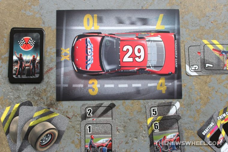 Pit Crew car racing board game Geoff Engelstein Stronghold review 2017 automotive cards review challenge