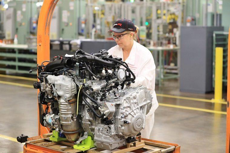 Anna Engine Plant associate Linda Lentz completes a final inspec