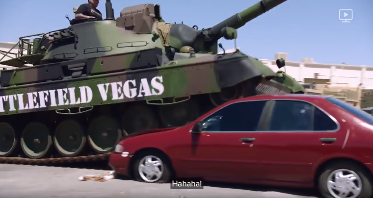 Marshawn Lynch Beast Mode No Script Tank Crushing Car