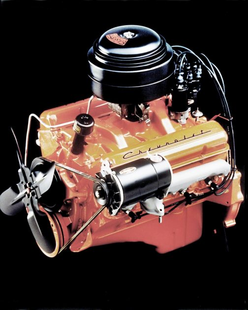 1955 Chevrolet 265-cubic-inch (4.3L) V-8 engine with two-barrel carburetor, rated at 162 horsepower and 257 lb-ft of torque.
