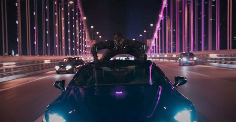 Marvel Black Panther movie superhero 2018 car vehicle chase sponsor brand Lexus