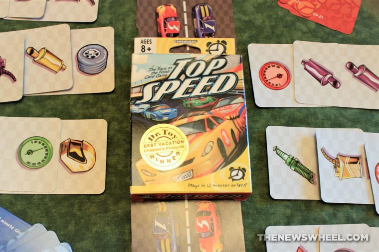 Top Speed car racing two-player card game Gamewright review automotive car theme buy