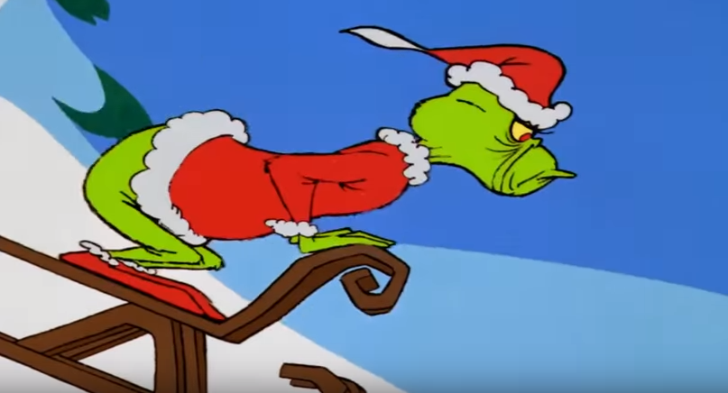 Grinch Driving Car