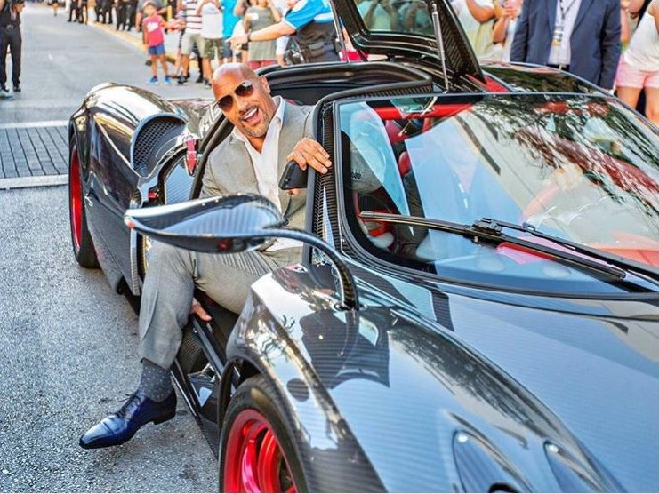 Rock Dwayne Johnson Instagram cars celebrity pictures driving Ballers Pagani Huayra