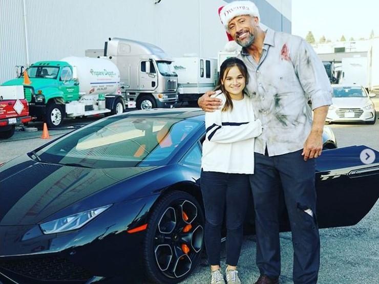 Rock Dwayne Johnson Instagram cars celebrity pictures driving Skyscraper Lamborghini Huracan