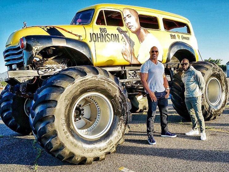 Rock Dwayne Johnson Instagram cars celebrity pictures driving central intelligence monster truck