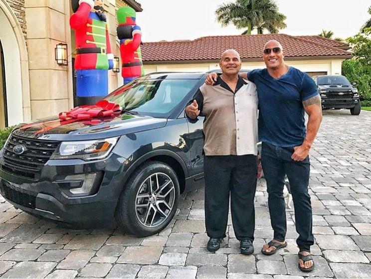 Rock Dwayne Johnson Instagram cars celebrity pictures driving dad ford explorer