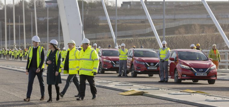 HRH Prince William Duke of Cambridge & Catherine Dutchess of Cambridge visit Sunderland's Northern Spire bridge on a visit to the City
