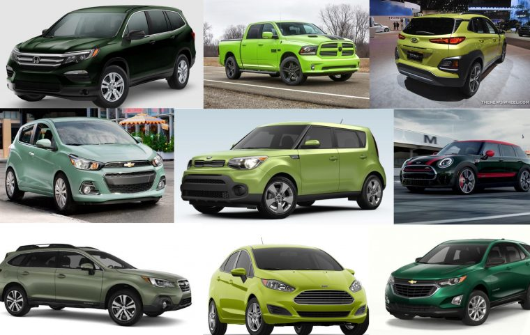 2018 green car colors exterior paint options vehicles collage