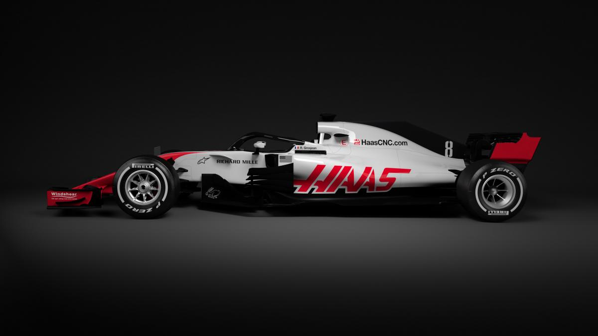 america s haas f1 is first to reveal new 2018 car the news wheel. Black Bedroom Furniture Sets. Home Design Ideas