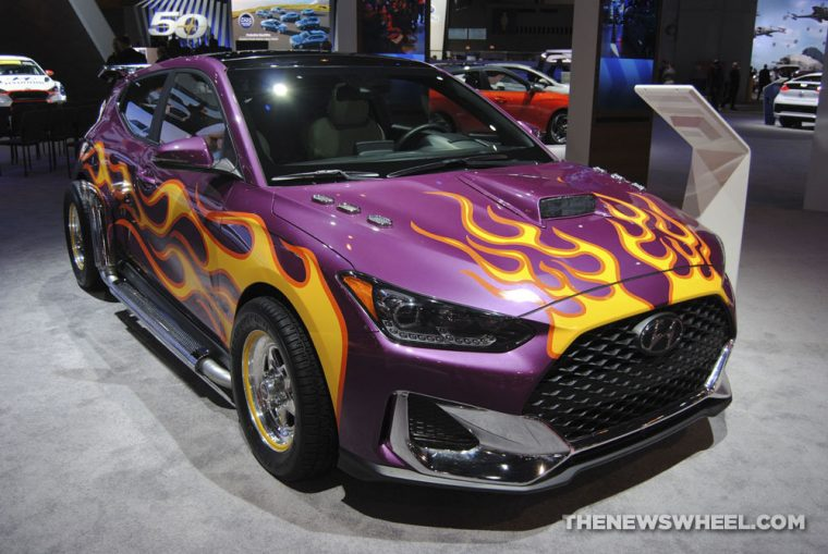 Hyundai Veloster Ant-Man and the Wasp Marvel Studios movie edition purple car flames display (1)